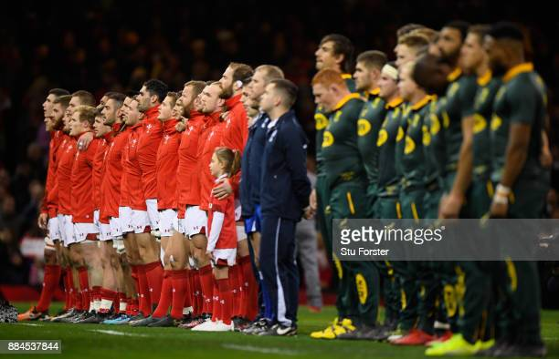 The teams line up before the International between Wales and South Africa at at Principality Stadium on December 2 2017 in Cardiff Wales