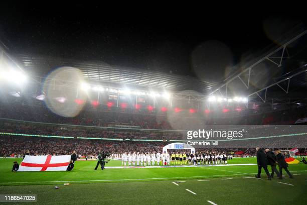 The teams line up before the International Friendly between England Women and Germany Women at Wembley Stadium on November 09, 2019 in London,...