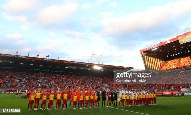 The teams line up before the UEFA Women's Euro 2017 semi final match between Netherlands and England at De Grolsch Veste Stadium on August 3 2017 in...