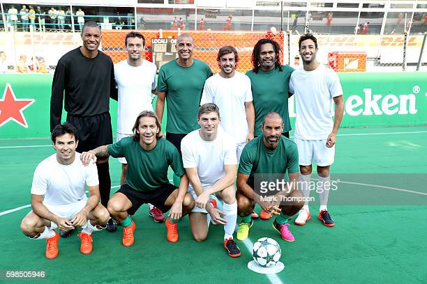 The teams line up Dida of Brazil Jolyon Palmer of Great Britain and Renault Sport F1 David Trezeguet of France Fernando Alonso of Spain and McLaren...