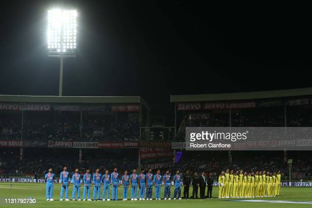 The teams line up during game one of the T20I Series between India and Australia at ACAVDCA Stadium on February 24 2019 in Visakhapatnam India