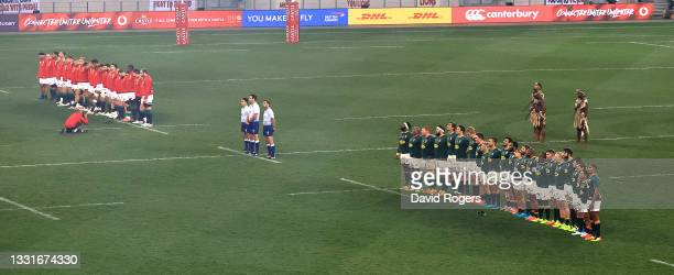 The teams line up during the 2nd test match between South Africa Springboks and the British & Irish Lions at Cape Town Stadium on July 31, 2021 in...