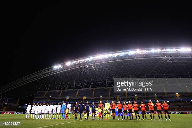 The teams line up during the FIFA U17 Women's World Cup Group D match between Nigeria and Mexico at Estadio Nacional on March 23 2014 in San Jose...
