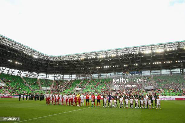 The teams line up during the International Friendly match between Hungary and Australia at Groupama Arena on June 9, 2018 in Budapest, Hungary.
