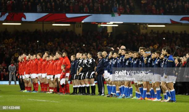 The teams line up during the NatWest Six Nations match between Wales and Italy at the Principality Stadium on March 11, 2018 in Cardiff, Wales.