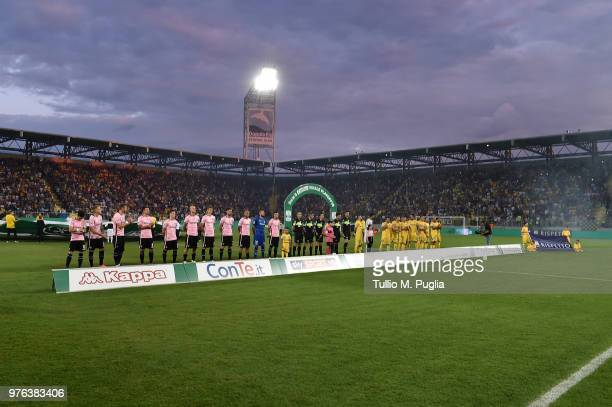 The teams line up during the open ceremony of the serie B playoff match final between Frosinone Calcio v US Citta di Palermo at Stadio Benito Stirpe...