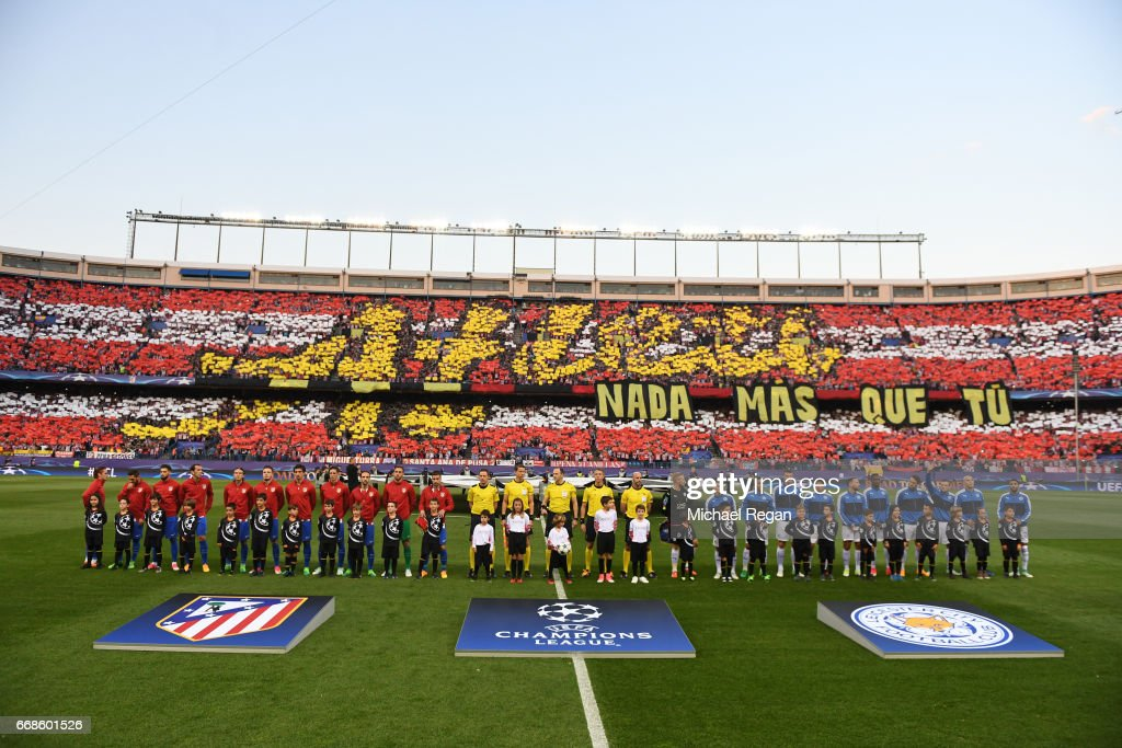 The teams line up during the UEFA Champions League Quarter Final first leg match between Club Atletico de Madrid and Leicester City at Vicente Calderon Stadium on April 12, 2017 in Madrid, Spain.