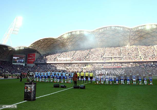 The teams line up for the 2015 ALeague Grand Final match between the Melbourne Victory and Sydney FC at AAMI Park on May 17 2015 in Melbourne...