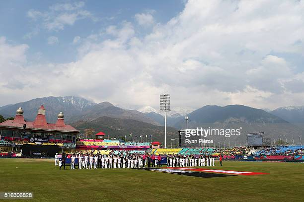 The Teams line up for the anthems during the ICC World Twenty20 India 2016 Super 10s Group 2 match between Australia and New Zealand at HPCA Stadium...