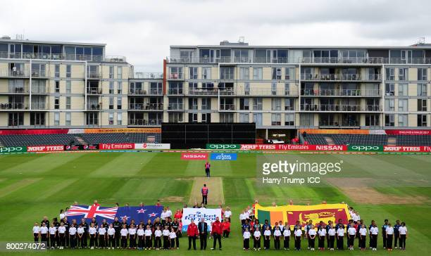The teams line up for the national anthems during the ICC Women's World Cup 2017 match between New Zealand and Sri Lanka at the Brightside Ground on...