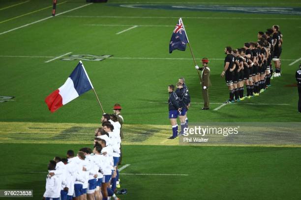 The teams line up for the National Anthems during the International Test match between the New Zealand All Blacks and France at Westpac Stadium on...