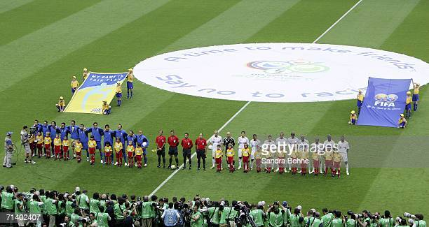 The teams line up for the national anthems prior to kickoff during the FIFA World Cup Germany 2006 Final match between Italy and France at the...