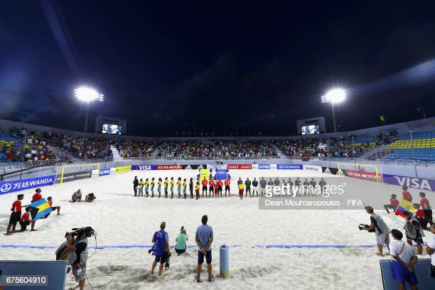 The teams line up for the national anthems prior to the FIFA Beach Soccer World Cup Bahamas 2017 group A match between Bahamas and Ecuador at...