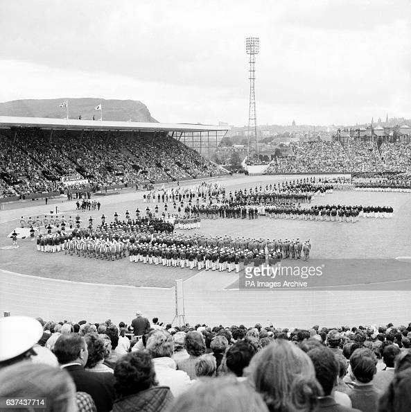 The teams line up on the Meadowbank Stadium pitch during the ...