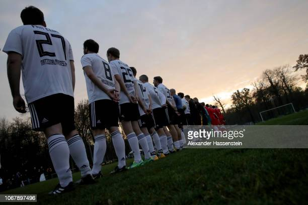 The teams line up prior to the Fan match between Germany and Russia on November 15 2018 in Leipzig Germany