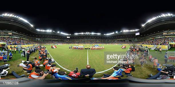 The teams line up prior to the FIFA Confederations Cup Brazil 2013 Group A match between Italy and Japan at Arena Pernambuco on June 19 2013 in...
