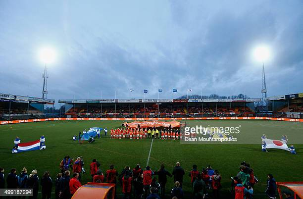 The teams line up prior to the International Friendly match between Netherlands and Japan held at Kras Stadion on November 29 2015 in Volendam...