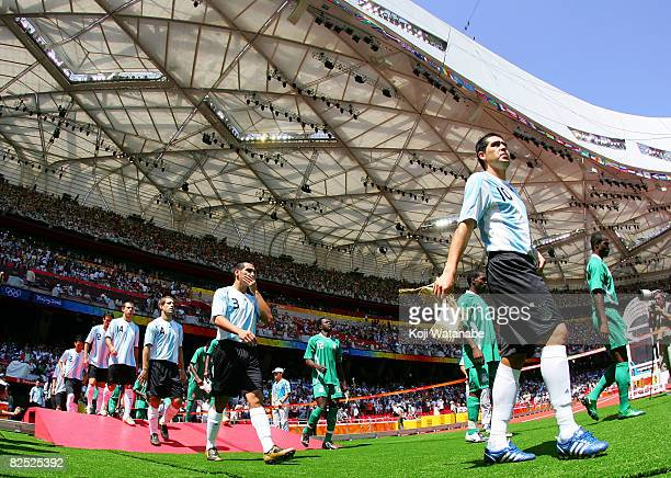 The teams line up prior to the Men's Gold Medal football match between Nigeria and Argentina at the Men's Final between Nigeria and Argentina at the...