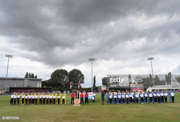 The teams line up to sing the national anthems before The Womens World Cup 2017 SemiFinal between Australia and India at The County Ground on July 20...