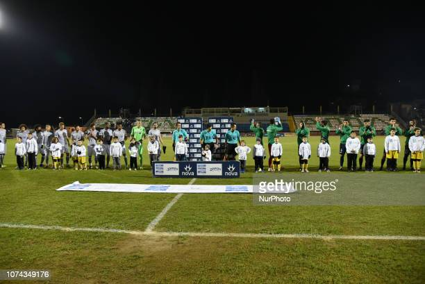 The teams lineup before the Greece Super League Football match between APO Levadeiakos and PAOK Thessaloniki in Levadia Municipal Stadium on December...