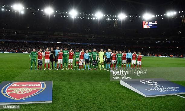 The teams lineup for the 'Say No to Racism' campaign during the UEFA Champions League group A match between Arsenal FC and PFC Ludogorets Razgrad at...
