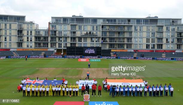 The teams look on for the national anthems during the ICC Women's World Cup 2017 match between Australia and India at The County Ground on July 12...