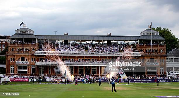 The teams make their way out onto the pitch during the NatWest T20 Blast match between Middlesex and Surrey at Lord's Cricket Ground on July 21 2016...
