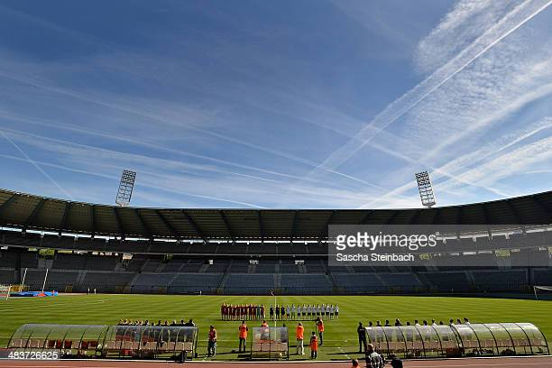 The teams of Belgium and Germany line up for national anthem prior to the UEFA Under19 Women's Elite Round match between Belgium and Germany at King...