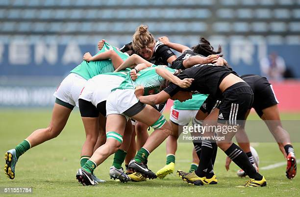 The teams of Brazil and New Zealand in action during the Women's HSBC Sevens World Series at Arena Barueri on February 21 2016 in Barueri Brazil