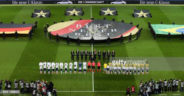 The teams of Germany and Brazil line up prior to the International friendly match between Germany and Brazil at Olympiastadion on March 27 2018 in...