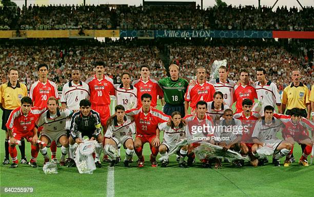 The teams of Iran and USA before the 1998 World Cup soccer match