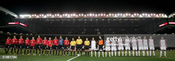 The teams of Manchester United and Sparta Prague line up at the start of the UEFA Champions League match between Manchester United and Sparta Prague...