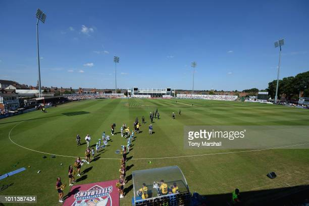 The teams of Northamptonshire Steelbacks and Birmingham Bears take to the field during the Vitality Blast match between Northamptonshire Steelbacks...