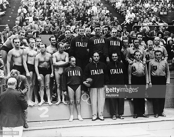 The teams on the podium after the water polo competition at the Empire Pool Wembley during the Olympic Games London 7th August 1948 The gold...