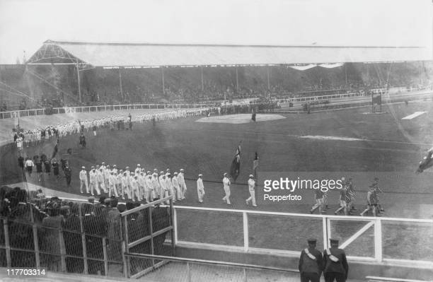 The teams parade around White City Stadium during the 1908 Summer Olympics in London 27th April 1908