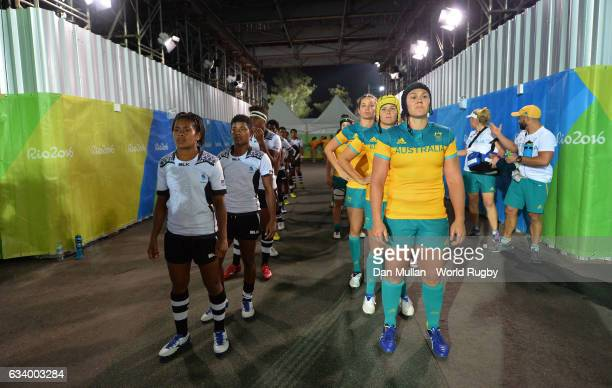 The teams prepare to take to the field during the Women's Rugby Sevens Pool A match between Australia and Fiji on Day 1 of the 2016 Rio Olympics at...