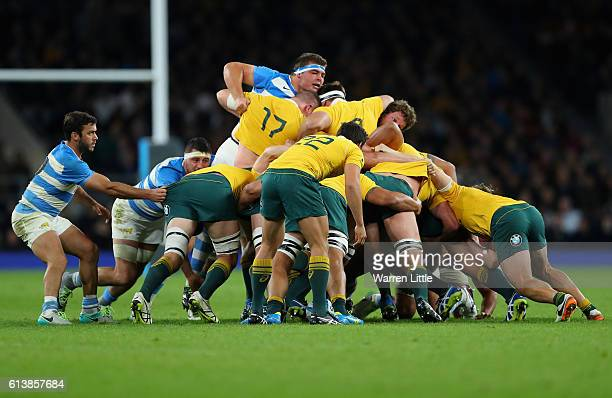 The teams scrum during the Rugby Championship match between Argentina and Australia at Twickenham Stadium on October 8 2016 in London England