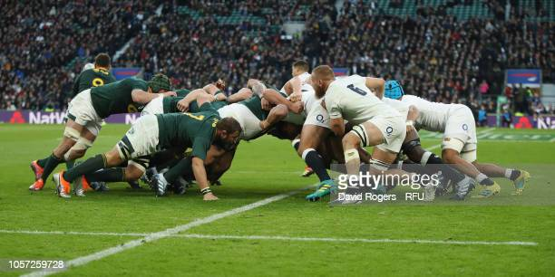The teams scrummage during the Quilter International match between England and South Africa on November 3 2018 in London United Kingdom