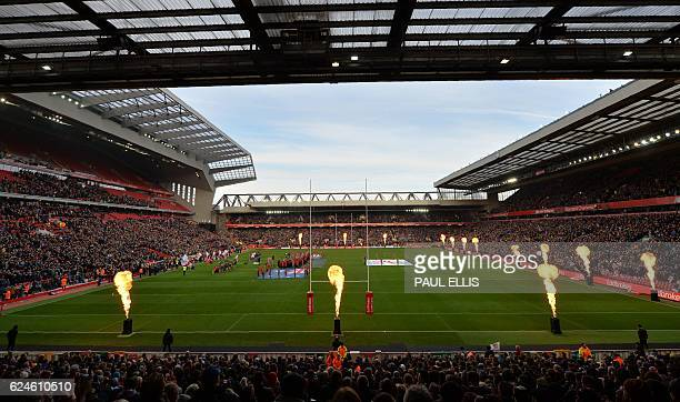 The teams sign their national anthems ahead of the rugby league Four Nations Final match between Australia and New Zealand at Anfield in Liverpool...