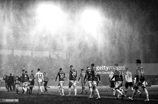 The teams take to field during the Sky Bet League One match between Oxford United and Ipswich Town at Kassam Stadium on January 14, 2020 in Oxford,...