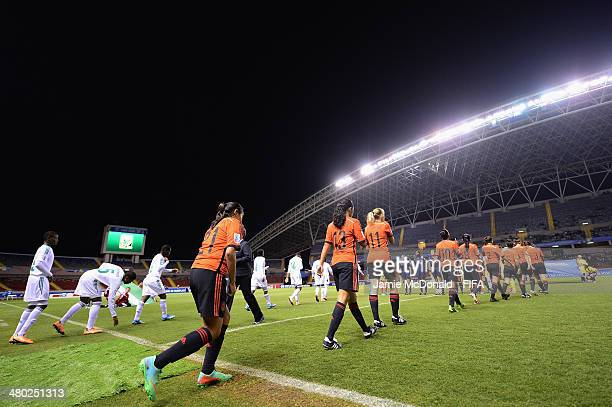 The teams take to the pitch during the FIFA U17 Women's World Cup Group D match between Nigeria and Mexico at Estadio Nacional on March 23 2014 in...