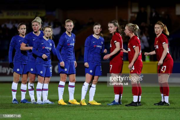 The teams wait for a corner during The Women's FA Cup Fifth Round match between Chelsea Women and Liverpool Women at Kingsmeadow on February 17 2020...
