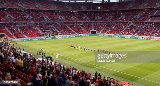 The teams wait for kick-off during the Hungarian Cup Final match between Budapest Honved and Mezokovesd Zsory FC at Puskas Arena on June 3, 2020 in...