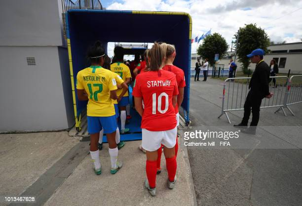 The teams wait in the tunnel before the FIFA U20 Women's World Cup France 2018 group B match between Brazil and England at Stade du Clos Gastel on...