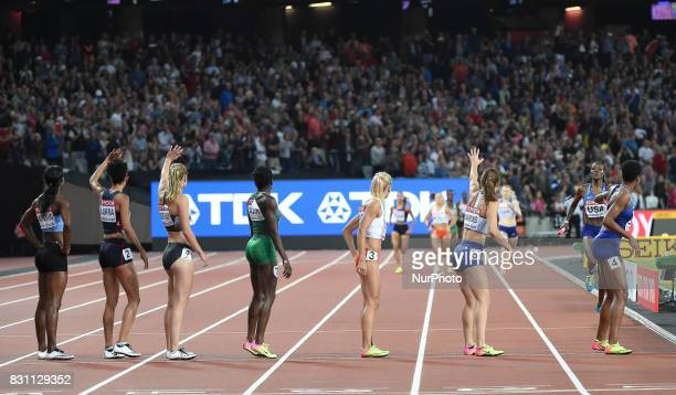 The teams waiting to changein 4 times 400 meter final in London at the 2017 IAAF World Championships athletics