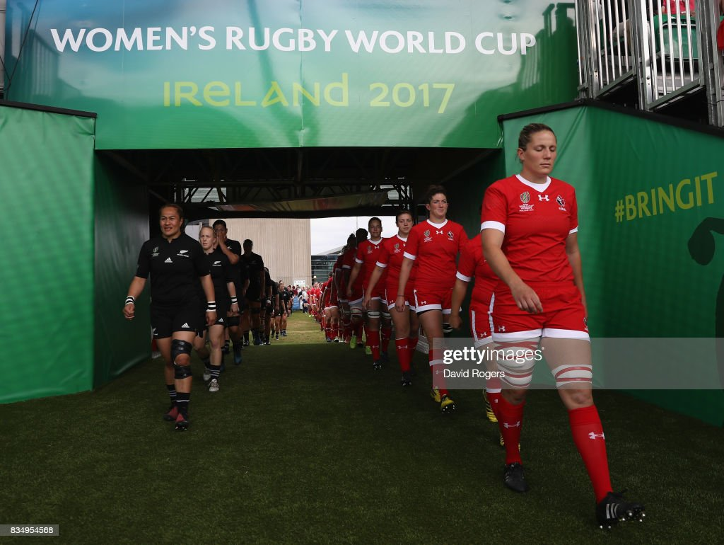 The teams walk down the tunnel prior to the Women's Rugby World Cup Pool A, match between Canada and New Zealand Black Ferns at Billings Park UCB on August 17, 2017 in Dublin, Ireland.