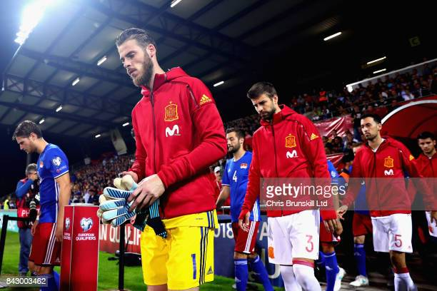 The teams walk out before the FIFA 2018 World Cup Qualifier between Liechtenstein and Spain at Rheinpark Stadion on September 5 2017 in Vaduz...