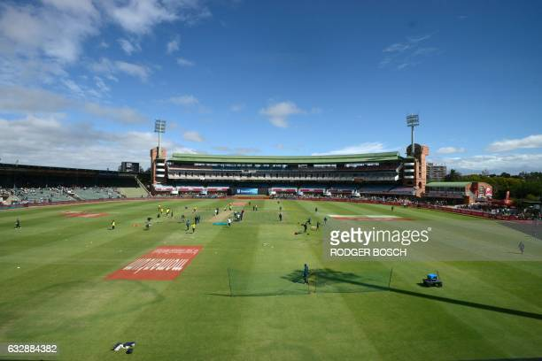 The teams warm up at St George's Park before the start of the One Day International cricket match between South Africa and Sri Lanka on January 28 in...