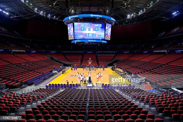 The teams warm up in an empty Stadium 1during the NBL pre-season game between the Sydney Kings and the Hawks at Qudos Bank Arena on December 20, 2020...