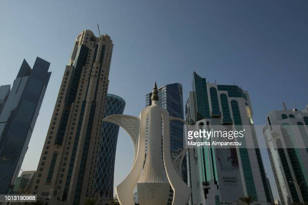 The Teapot sculpture and the skyscrapers at the Corniche in Doha